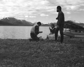 les gens, lac, flotteur, avion, fond