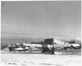 small, airplanes, airport, winter