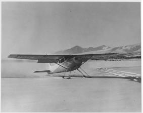 piccolo, biplano, atterraggio, neve