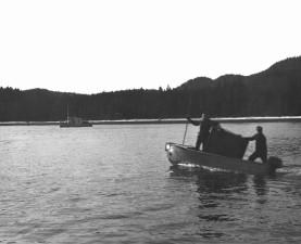 transfer, case, small, boat