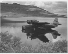 transport, avion, lac