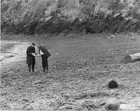deux, hommes, plage, cru, image