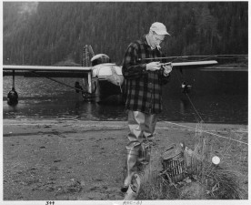 vintage, photo, man, fishing, lake