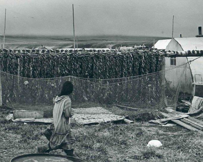 vintage, photo, female, walking, herring, racks, village
