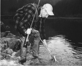 vintage, photo, fisherman, catch, net