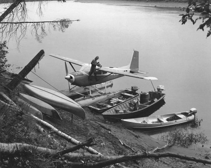 Jahrgang, Foto, Mann, Schwimmer, Flugzeug, Ufer, kleine, Boote