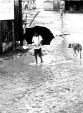 vintage, photo, young boy, rain