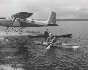 vintage, photo, people, kayaks, lake, float, plane
