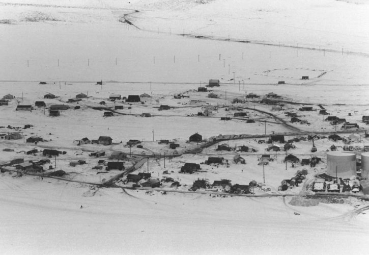 winter, aerial, photo, village, kotzebue