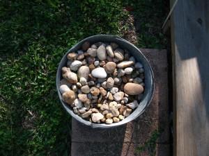 bucket, stones