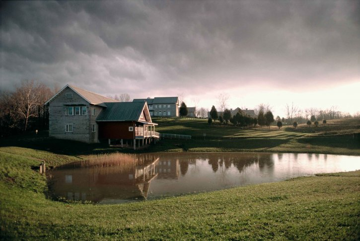 building, pond, line, stormy, clouds