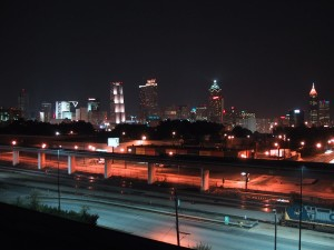 downtown, skyline, night