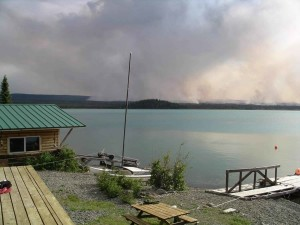 home, lake, forest, fire, background