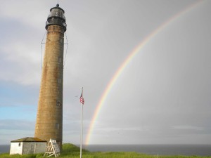 lighthouse, rainbow, background