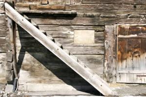 vieux, escaliers, bois, moulin