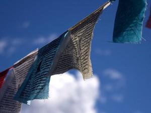 prayer, flags, blowing, breeze