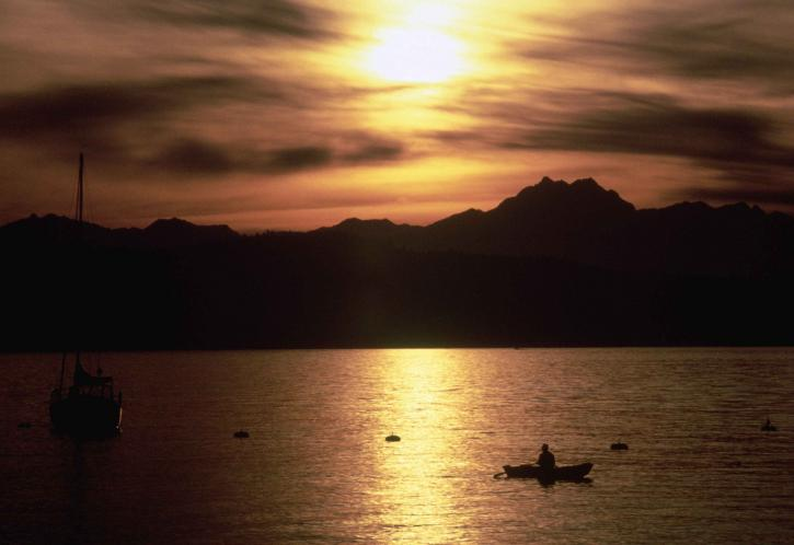 silueta, ribari, brodu, lov, ribe, luka
