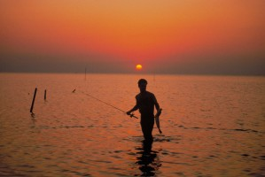 sunset, fishing