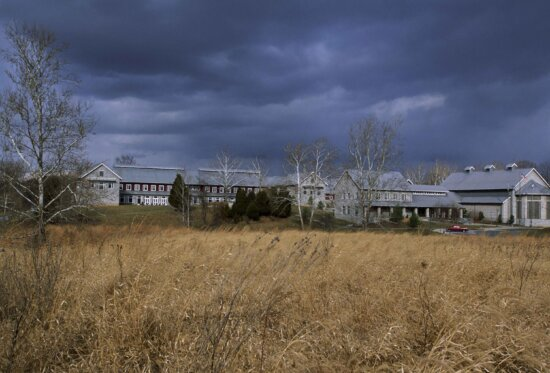 across, field, dried, grasses, houses