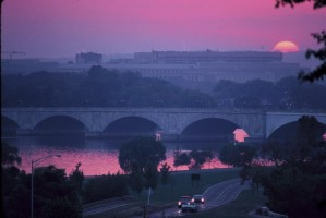 washington, city, sunset